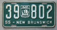 1955 New Brunswick License Plate (#39 802) Coat of Arms Lion and Lymphad
