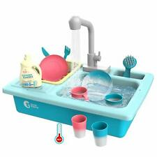 Kids Girls Play Kitchen Sink Toys Electric Dishwasher Playing Sink Pretend Play