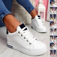 WOMENS LADIES WEDGE TRAINERS LACE UP SLIP ON PARTY SNEAKERS WOMEN SHOES SIZE UK