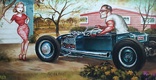 KEITH WEESNER PRINT 1928 29 FORD ROADSTER PICKUP FLATHEAD HOT ROD POSTER RAT VTG