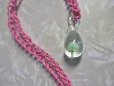 PINK HEMP Green Glass Mushroom Pendant  Necklace SHROOM Handmade Jewelry Charm
