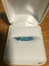 NIB!!!! AQUA SWAROVSKI CRYSTAL Blue Sterling Silver Skinny Fashion Ring Size 8!!