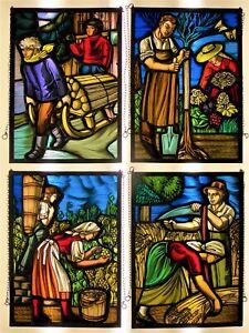 Bleiverglasung ,4 Stück ,4 Jahreszeiten ,Glasbild,Fenster,Glas,Bleiglas,Bild