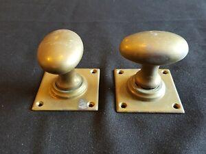 Pair of Reclaimed Antique Bronze Victorian Oval Door Knobs Handles (EER445)