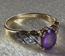Amethyst Oval 1.0 Carat 12 Diamond Accents Ring 14K Yellow Gold Ring Size 7.5