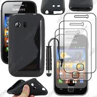 Housse Etui Coque Silicone Noir Samsung Galaxy Y S5360 + Mini Stylet + 3 Films