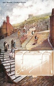 1910 POSTCARD: CHURCH STEPS, WHITBY, WITH 12 FOLD-OUT PHOTOGRAPIC IMAGES