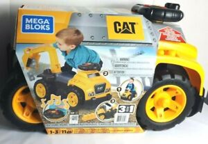 Mega Bloks CAT Kids Ride On 3-IN-1 Excavator Toy Realistic Sound Yellow & Black