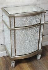 Silver Glitter Mirrored Glass Bedside Cabinet With Drawer Lamp Table Bedroom