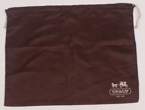 New COACH Protective Dust Bag Dustbag Cover Brown Sateen Silver Drawstring 19x15