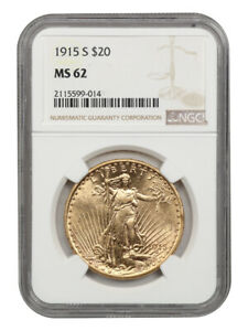 1915-S $20 NGC MS62 - Saint Gaudens Double Eagle - Gold Coin
