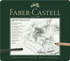 Faber-Castell  - Estuche de metal precintado con 24 piezas de carbón