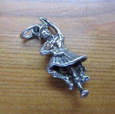 VINTAGE 925 argento Sterling Charm Bracciale Ballerina Scozzese Uomo 2.5 G