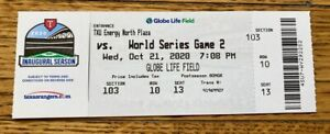 FULL MINT AUTHENTIC TICKET 2020 WORLD SERIES GAME 2 *BOX OFFICE ISSUED*