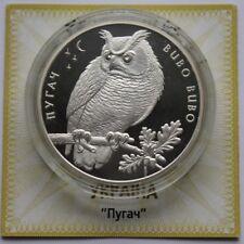 EAGLE OWL - BUBO BUBO 2002 Ukraine 10 Hryvnia 1 Oz Silver Proof Coin Bird Fauna