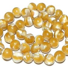 """MP658 Yellow Mother of Pearl Shell & Resin 10mm Round Gemstone Beads 15"""""""