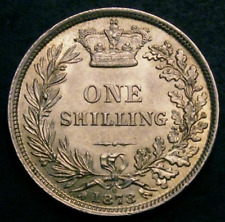 1873 UNC Queen Victoria Shilling Coin CGS 78, MS63-64. Valued in Spink at £575