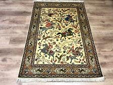 Feiner Perser Teppich Signiert Seide auf Seide Ghom Jagdszenen 146 x 97 wie Neu