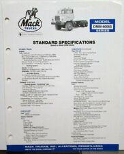 1982 Mack Trucks Model DMM 6006S Diagram Dimensions Sales Brochure Original