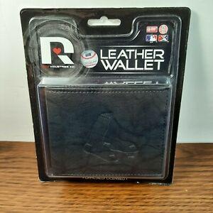 MLB Boston Red Sox- Rico Industries Men's Embossed Billfold Wallet in Black