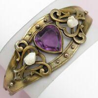 Antique Victorian Gold Gilt Amethyst Glass Heart FreshWater Pearl Bracelet