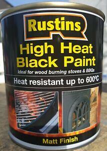 ☆ RUSTINS 500ML HIGH HEAT 600 DEGREE RESISTANT BLACK MATT PAINT for stoves/bbq☆