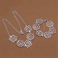Fashion 925 silver women Charm Bracelet necklace Bohemia jewelry set wedding