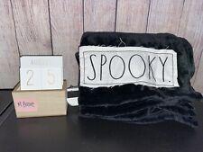 Rae Dunn black Spooky plush fleece blanket New