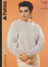 """Knitting Pattern - Patons 3384 - Lady 's Mohair Lacy Knit Panel Sweater 32-40"""""""
