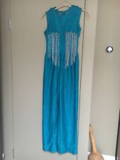 True Vintage Hand Made 60's Maxi Dress Glitter Turquoise Silver Party