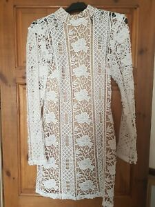 Missguided White Lace Crochet Dress Size 10. BLOGGERS FAVE!