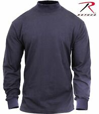 Dark Navy Blue Mock Turtleneck - Mens Midnight Blue Cotton Longsleeve Shirt Top