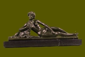 Hand Made Refined and Sophisticated Classy Woman with Her Dog Bronze Sculpture