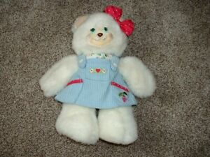 """Fisher Price Briarberry BerryBeth Plush Bear Stuffed Toy White Blue 10"""" RARE"""