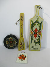 Tole Wooden Rosemaling Paddle Spoon Wall Plaques Signed Williams 4 Pieces