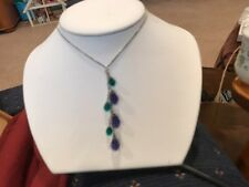 """16-20"""" STERLING SILVER GREEN TOPAZ AND AMETHYST CARVED GEMSTONE DROPS"""