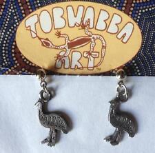 Ohrringe Anhänger Malerei /Prägung Australien Aborigines Tobwabba EMU
