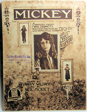 MICKEY ADAPTED FROM MACK SENNETT'S 500,000 PHOTOPLAY Vintage Sheet Music 1918
