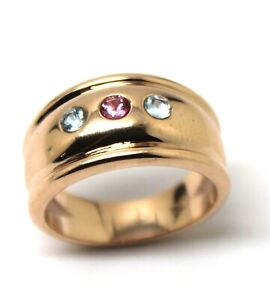 9ct 9k Full Solid Rose Gold Aquamarine + Pink Sapphire Thick Dome Ring 10mm Wide