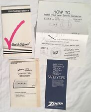 Vintage 1990s Zenith Cable Box MANUAL WARRANTY & UA Cablevision Guide Peoria IL