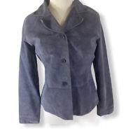 Brandon Thomas Jacket Women's Gray Purple Suede Leather Lined Button Up Blazer M