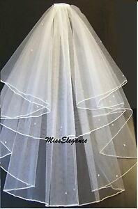 BRIDAL VEIL Ivory white 2T Wedding Bridal veil Fingertip Pencil Edge veil w comb