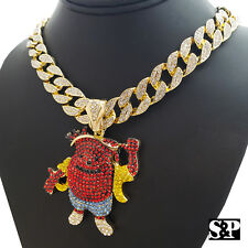 "Hip Hop Iced Gold Tone KOOL AID MAN & 18"" Full Iced Cuban Choker Chain Necklace"