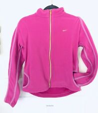 NIKE Women Girls Size S 4-6 Therma-Fit Slim Track Zip Up Warm Fleece Pink Jacket