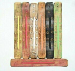 Wooden Incense Stick Holder Burning Joss Insence Ash Catcher Insense Burner Wood
