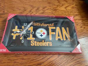 Pittsburgh Steelers #1 Fan License Plate Quartz Clock Rico Industries USA