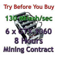 6 x GTX 1060 RIG 130 MH/sec Guaranteed 8 Hours Mining Contract Ethereum (Ethash)