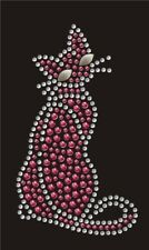Hotfix Bügelbild  süßes Strass Kätzchen Katze Pink Studs 130809 Karostonebox