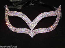Party Silver with AB Rhinestone Masquerade Mask Mardi Gras Party W/ Black Ribbon
