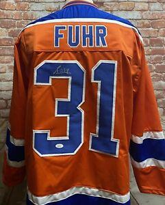 Grant Fuhr Edmonton Oilers Signed Orange Jersey JSA COA